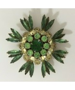 Vintage Judy Lee Brooch Green Floral Pin Fashion Jewelry Multi Color Round - $14.84
