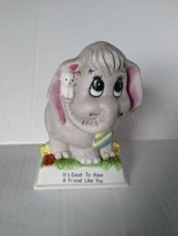 Russ Berrie Porcelain Elephant & Mouse It's Great To Have A Friend Like You 1979 - $24.52