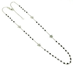 18K WHITE GOLD NECKLACE, FACETED BLACK SPINEL, FLAT STARS, ROLO CHAIN, ALTERNATE image 1