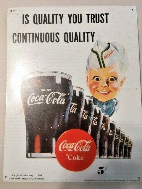 "Primary image for Coca Cola Retro Style Metal / Tin Sign  14"" x 10.5""  Vintage Circa 1998"