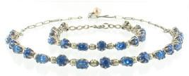 VINTAGE DECO CZECH ROUND BLUE RHINESTONE PEARL CHOKER NECKLACE BRACELET ... - $51.29