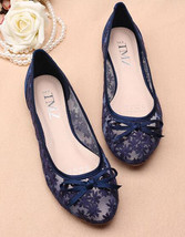 Women navy Bridal flats shoes,royal blue bridal shoes, blue wedding shoes - £39.09 GBP