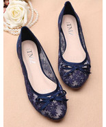 Women navy Bridal flats shoes,royal blue bridal shoes, blue wedding shoes - £39.09 GBP