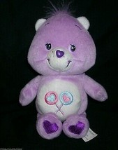 "8"" CARE BEARS SHARE BEAR PURPLE STUFFED ANIMAL PLUSH DOLL TOY 2002 CANDY... - $10.76"