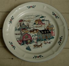 """Nice Gibson China 10.5"""" Transfer Ware Dinner Plate, Great Winter Scene, VG COND - $19.79"""