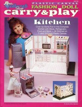 Fashion Doll Carry & Play Kitchen Barbie Doll Plastic Canvas PATTERN BOO... - $9.42