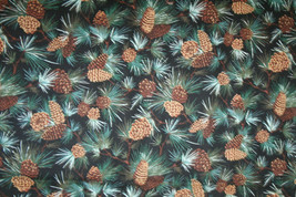 PINE CONES AND BOUGHS BY FAYE BURGOS - 100% COTTON FABRIC   - $7.91