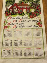 1971 Calendar Towel BLESS THIS HOUSE Fabric Wall Hanging, Fabric RETRO K... - $9.49