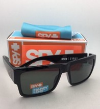 New SPY OPTIC Sunglasses CYRUS Shiny Black Frame w/ Happy Grey-Green Lenses