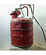 Antique Vintage Red Galvanized Fuel Can Table Lamp  #405 Can Stamp Rusti... - $82.76