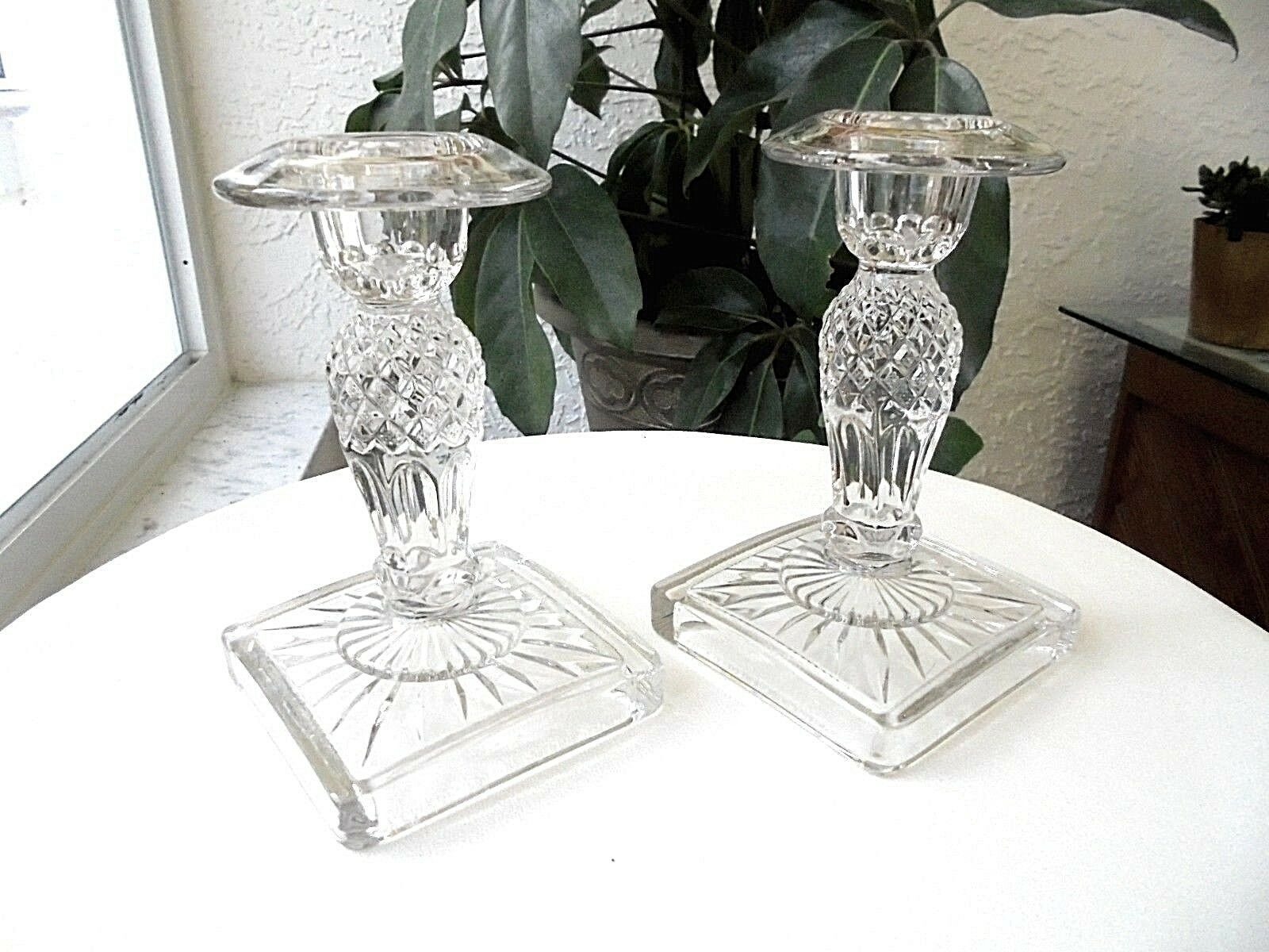 "Primary image for Set of 2 West Germany 6"" Tall Crystal Candlestick Holders"