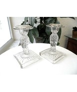 """Set of 2 West Germany 6"""" Tall Crystal Candlestick Holders - $11.88"""