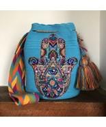 Authentic 100% Wayuu Mochila Colombian Bag Large Luxury Boho Hamsa Hand ... - £91.77 GBP