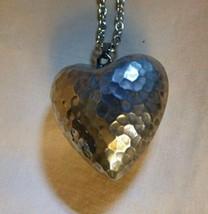 "Vintage Silvertone Hammered Heart on 22"" Silvertone Chain Hallmark Cards - $25.00"