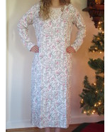 Charter Club Long Nightgown Pink/Grey Soft Brushed Knit Gown Large XL XX... - $39.95