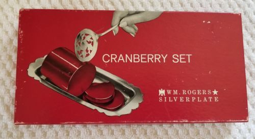 """Vintage W.M. Rogers Silver Plated Cranberry Set  Server 7½"""" Tray 10"""" X 5"""" in Box"""