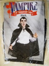"VINTAGE BLACK 45"" VAMPIRE MASQUERADE CAPE, NIP, ONE SIZE FITS ALL - $5.99"