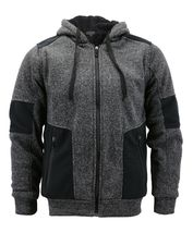 Men's Two Tone Warm Soft Sherpa Lined Moto Quilted Zipper Fleece Hoodie Jacket image 4