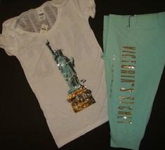 Victoria's Secret S SHIRT+XS capri pants PINK NYC sequin statue Of Liber... - $118.79