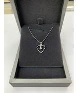 White Gold Diamond Pendant Necklace Heart Shaped 14k White Gold - $268.79