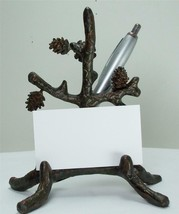 "6"" Tall Brown Desktop Aluminum Pine Branch & Pinecone Business Card & Pen Holder - $24.70"