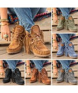 Fringed Lace-up Women's Medieval Suede Boots Retro Tassel Faux Leather Shoes - $24.99