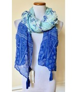 "NEW Cejon Blue Multi Floral Print Shawl Over-Sized Scarf Wrap Tassel 52""... - $9.99"
