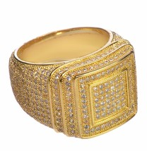 Men's Band Hip Hop Double Square Style Ring Diamond 18k Gold Plated 925 Silver - £141.17 GBP