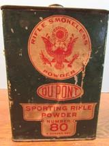 Rare Vintage Dupont Number 80 Smokeless Sporting Rifle Gun Powder Tin 8 ... - $37.87