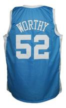 James Worthy #52 College Basketball Jersey Sewn Light Blue Any Size image 2