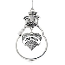 Inspired Silver Lung Cancer Awareness Pave Heart Snowman Holiday Christmas Tree  - $14.69