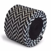 Frederick Thomas Knitted Skinny Black and White Herringbone Tie FT3289