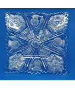 1910 EAPG Patterrn Glass Higbee Paneled Thistle Delta Square Serving Pla... - $23.76