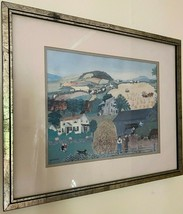 """MOSES Signed in the plate Folk Art Print double matted & framed 17"""" by 21"""". - $35.18"""
