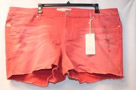 NEW TORRID WOMENS PLUS SIZE 30W 30 RED WASH SKINNY SHORT SHORTS W DESTRU... - $19.34