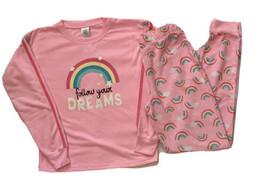 Girls Pajama Set Rainbow Long Sleeve Pants Pink Kelli Fish XL 14/16 - $7.91