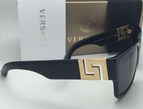 5126f27bcb5 Polarized VERSACE Sunglasses VE 4296 GB1 81 59-16 Black   Gold Frame w Grey  Lens