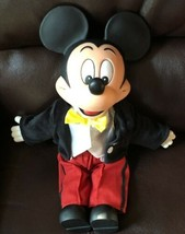 Vtg Mickey Mouse Doll Plush DIsney Plastic Face Hands Feet Suit Yellow B... - $19.79