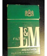 CIGARETTE BOX EMPTY PACK USA L&M MENTHOL with Virginia tax stamp - $2.80