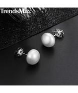 Women's Natural Pearl Stud Earrings Pearl Silver Color Earrings  For Wom... - $16.86