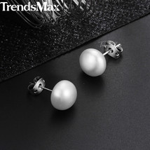 Women's Natural Pearl Stud Earrings Pearl Silver Color Earrings  For Wom... - $16.86