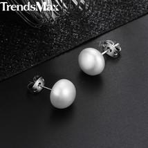 Women's Natural Pearl Stud Earrings Pearl Silver Color Earrings  For Wom... - £13.47 GBP