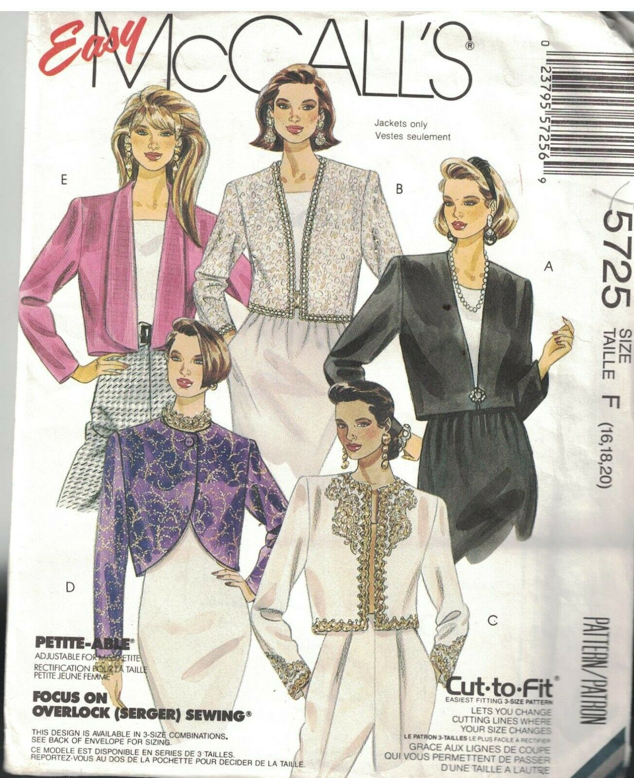 Primary image for 5725 Vintage McCalls Sewing Pattern Misses Uncut Cropped Partially Lined Jackets