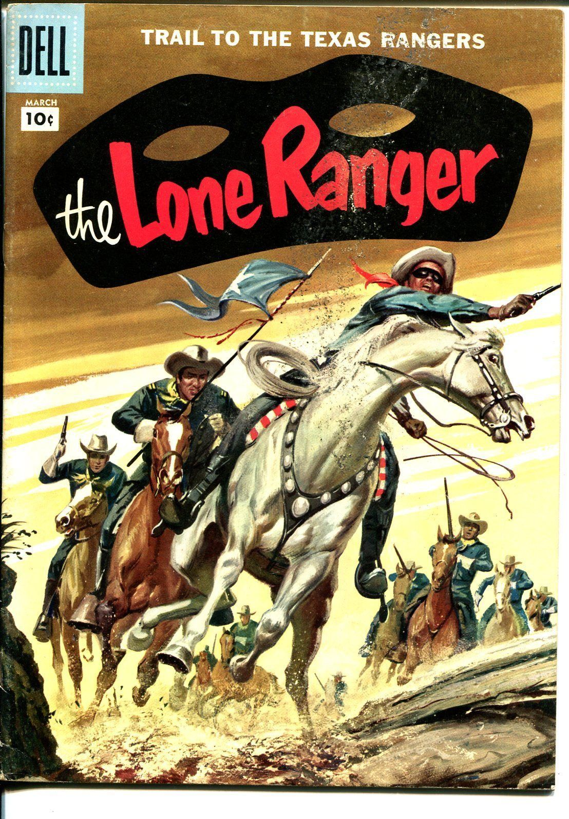 Lone Ranger #105 1957-Dell-painted cover-Texas Rangers-VG