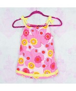 Hanna Andersson Girls 90 US 3 3T Pink Yellow Ribbon Floral Tie Sleeve Dress - $29.69