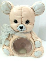 QUILTED  TEDDY BEAR PIGGY Coin BANK With Clear Belly Baby Nursery Vintag... - $19.01