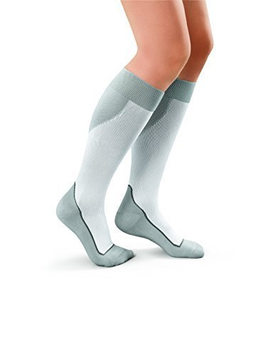 JOBST Sport Knee High 15-20 mmHg Compression Socks, White/Grey, Large
