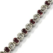 18K WHITE GOLD TENNIS BRACELET RED CUBIC ZIRCONIA 2.5mm LOBSTER CLASP CLOSURE image 4