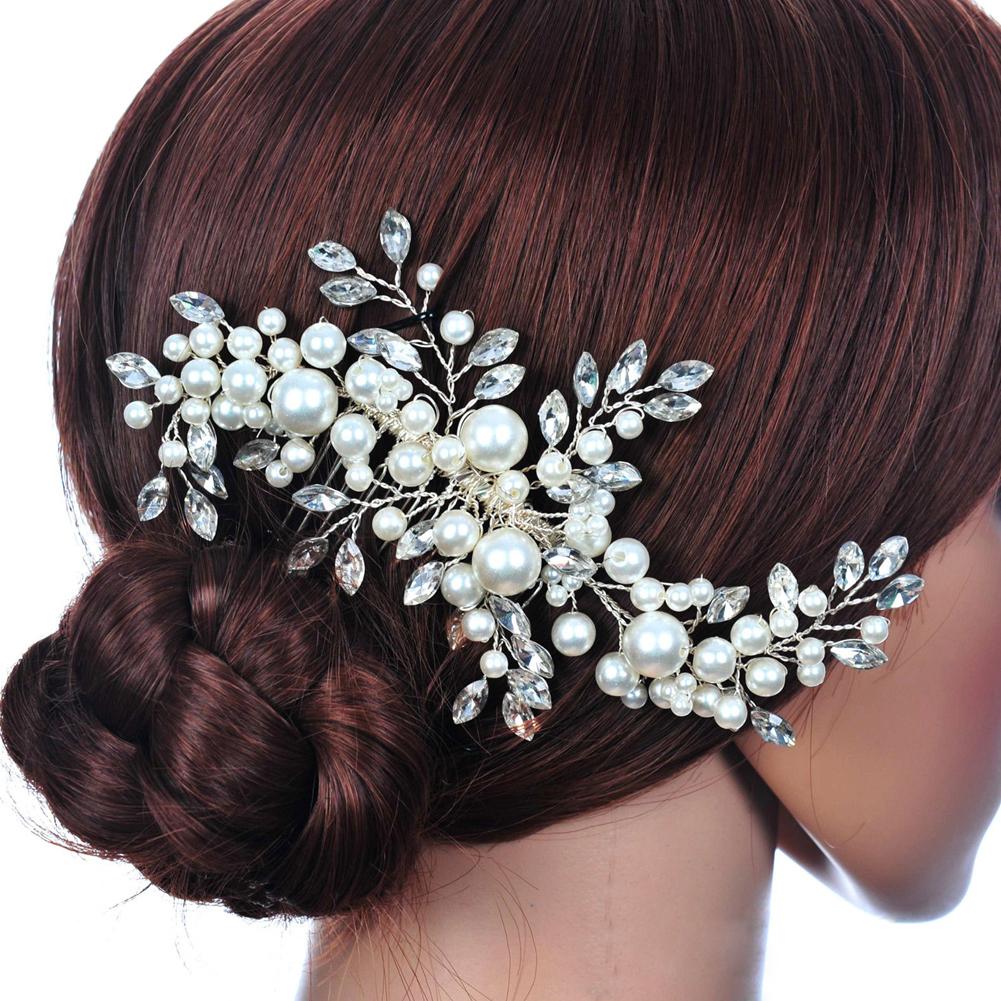 Bridal Pearl Flower Hair Pin Accessories Headband Crystal Tiara Wedding - Hair Accessories