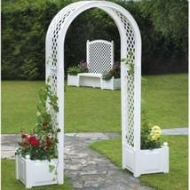Garden Gate Arch W/ Planter White Patio Climbing Plant Trellis Decor Pat... - $172.62